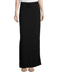 Neiman Marcus Drawstring French Terry Maxi Skirt Black