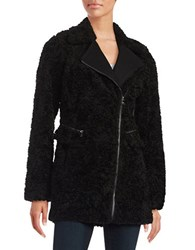 Catherine Malandrino Faux Fur Mid Length Asymmetrical Zipper Coat Black