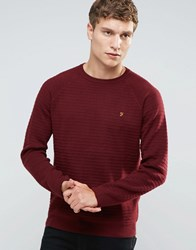 Farah Jumper With Textured Self Stripe In Slim Fit Red Red
