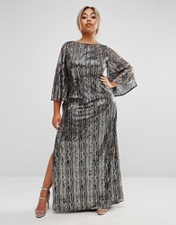 Lovedrobe Luxe All Over Embellished Kimono Sleeve Maxi Dress Gold