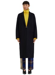 Acne Studios Foin Long Double Faced Wool Coat Navy
