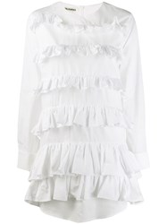 Jourden Poplin Ruffled Mini Shirt Dress White