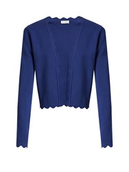 Altuzarra Hughes Open Front Scallop Edged Cardigan Blue