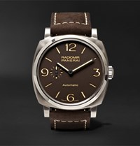 Officine Panerai Radiomir 1940 3 Days Automatic 45Mm Titanium And Leather Watch Brown