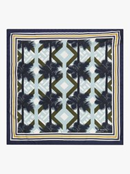 Ted Baker Moortwn Palm Print Silk Pocket Square Blue