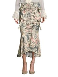 Zimmermann Cavalier Strapped Floral Skirt Smoke Floral