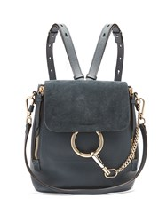 Chloe Faye Small Suede And Leather Backpack Navy