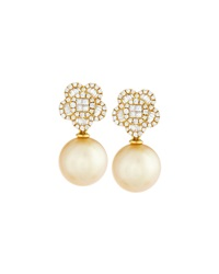Belpearl 18K Yellow Gold South Sea Pearl And Diamond Flower Drop Earrings Women's