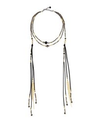 Nakamol Multi Strand Beaded Choker W Tasseled Chain Dangles Black