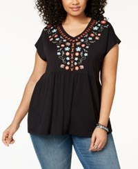 Styleandco. Style Co Plus Size Cotton Embroidered Babydoll Tunic Created For Macy's Ditsy Garden