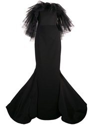 Christian Siriano Ruffled Tulle Detail Gown Black