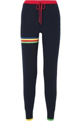 Madeleine Thompson Pluto Striped Cashmere Track Pants Navy