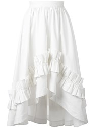 Cedric Charlier Gathered Waist Ruffled Skirt White