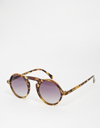 Asos Round Sunglasses In Tort Brown