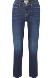 Frame Le High Cropped Straight Leg Jeans Mid Denim
