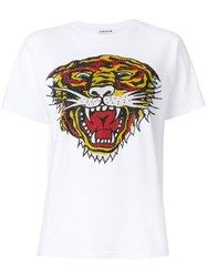 P.A.R.O.S.H. Perforated Tiger T Shirt Women Cotton L White