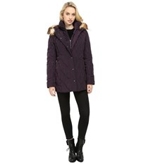 Jessica Simpson Quilted Down With Faux Fur Trim Amethyst Women's Coat Purple