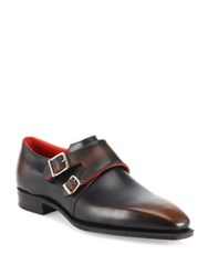Corthay Arca Double Monk Strap Calf Leather Shoes Brown
