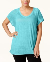 Calvin Klein Performance Plus Size Burnout T Shirt Blue Sea