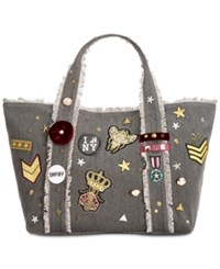 Steve Madden Grady Large Tote With Patches And Pins Charcoal