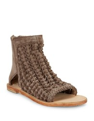 Free People Island Cruiser Textured Leather Open Toe Booties Taupe