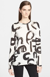 Proenza Schouler Print Tissue Jersey Long Sleeve Top White Black Text
