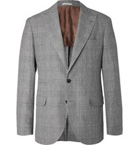 Brunello Cucinelli Grey Prince Of Wales Checked Wool Linen And Silk Blend Suit Jacket Gray