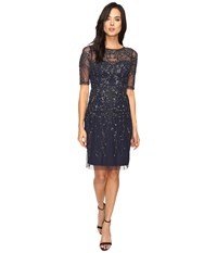 Adrianna Papell 3 4 Sleeve Fully Beaded Cocktail Dress Navy Women's Dress