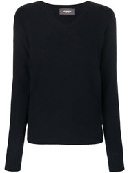 Jo No Fui V Neck Pullover Polyester Cashmere Wool Xs Blue