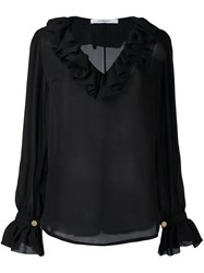 Givenchy Ruffle Trim Semi Sheer Blouse Black