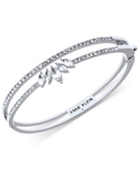 Anne Klein Silver Tone Crystal Double Row Bangle Bracelet Created For Macy's