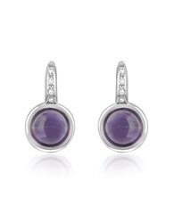 Mia And Beverly Amethyst And Diamond 18K White Gold Earrings Purple
