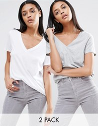 Asos The Ultimate V Neck Slouchy T Shirt 2 Pack White Grey Marl Multi