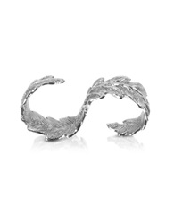 Bernard Delettrez Two Fingers Silver Leafy Ring