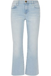 Current Elliott The Kick Cropped Distressed Mid Rise Flared Jeans Light Denim