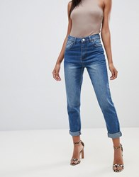 Prettylittlething Mom Jean In Mid Wash Blue Navy