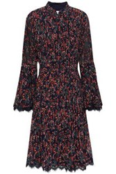 Mikael Aghal Woman Lace Trimmed Pintucked Floral Print Georgette Dress Midnight Blue