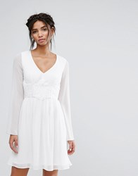 Elise Ryan Skater Dress With Lace Waist White