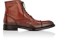 Barneys New York Men's Cap Toe Leather Boots Brown Burgundy Brown Burgundy