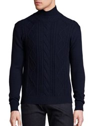 Vilebrequin Wool Cable Knit Turtleneck Sweater Navy