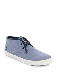 Penguin Textured Lace Up Sneakers Navy