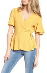 Leith Flounce Sleeve Faux Wrap Top Yellow Mineral