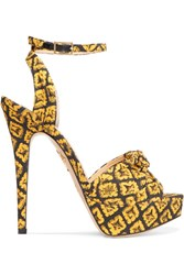 Charlotte Olympia Show Shoes Printed Canvas Platform Sandals Mustard