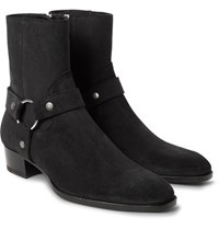 Saint Laurent Wyatt Suede Harness Boots Black