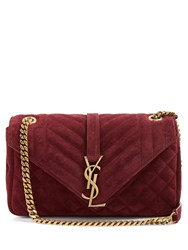 Saint Laurent Monogram Classic Quilted Suede Cross Body Bag Burgundy