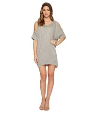 Nally And Millie Cold Shoulder French Terry Dress Heather Grey Gray
