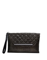 La Regale Quilted Flap Envelope Wristlet Black