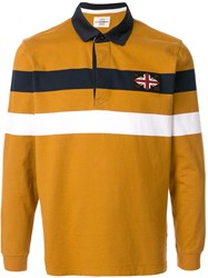 Kent And Curwen Union Jack Embroidered Striped Polo Shirt 60
