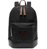 Berluti Volume Leather Trimmed Jacquard Backpack Black