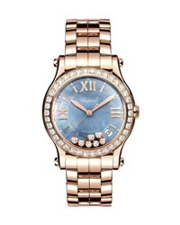 Chopard 36Mm Happy Sport 18K Rose Gold Bracelet Watch With Diamonds
